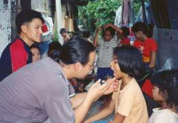 Medical assistance in slum area